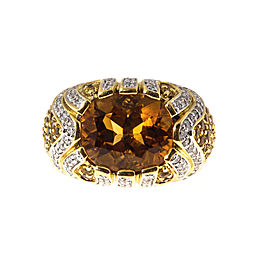 18K Yellow & White Gold 1.50cts Orange Citrine Sapphires & Diamond Raised Dome Ariel Ring Size 6.75