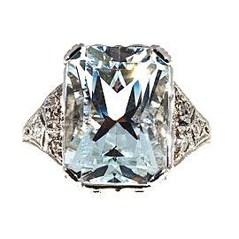 Platinum 8.17ct Aquamarine & Diamond Filigree Ring Size 7