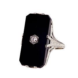 18k White Gold Filigree Black Onyx Diamond Ring Size 10