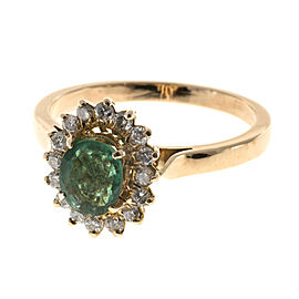 14K Rose Gold with 0.75ct Green Oval Emerald & 0.12ct Diamond Ring Size 5.75