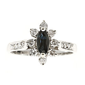Vintage 14K White Gold with 0.40ct Bright Blue Sapphire and Diamond Ring Size 6.25