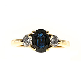 14k Yellow Gold Vintage 1.65ct Blue Sapphire .50CT Diamond Ring Size 6.25
