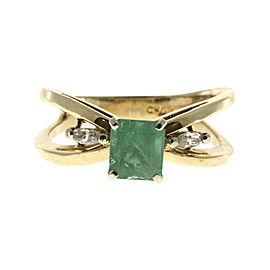 Vintage 14K Yellow Gold Emerald & 0.12ct Diamond 'X' Design Ring Size 6.25