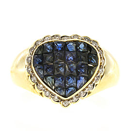 18K Yellow Gold with 0.22ct Diamond & 2.50ct Sapphire Heart Ring Size 6.75