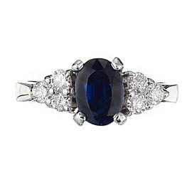 14K White Gold Sapphire, Diamond Ring