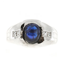 Vintage Art Deco with 2.05ct Gem Cabochon Blue Sapphire & Diamond Platinum Ring Size 6.75