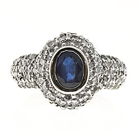 Vintage 14K White Gold 1.00ct Domed Oval Royal Blue Sapphire and 108 Diamond Pave Set Ring Size 6