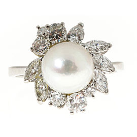 18K White Gold with Cultured Pearl & 1.0ct. Diamond Ring Size 7.75