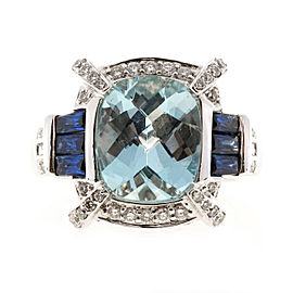 Charles Krypell 18K White Gold with 3.69ct. Aqua, Sapphire & 1.20ct. Diamond Vintage Ring Size 7.25