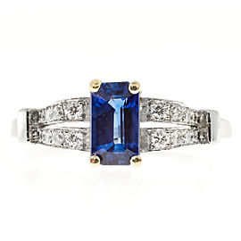Vintage Art Deco Platinum with 1.05ct Cornflower Blue Sapphire & Round Diamond Ring Size 6.75