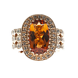 Sonia B Vintage 14K Yellow Gold with 6.0ct Oval Citrine & 0.71ct Diamond Ring Size 6.5