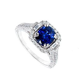 Vintage Platinum 2.87ct Blue Sapphire and Diamonds Womens Ring Size 8.75