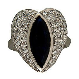 Platinum Vintage 2.50ct Sapphire .65ct Pave Diamond Heart Ring Size 5.5