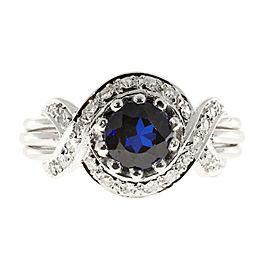 Vintage Platinum with 1.03ct Sapphire & Diamond Ring Size 7.5