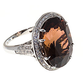 18K White Gold 26.70ct Pink Brown Tourmaline & 0.75ct Diamond Ring Size 7