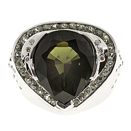 14K White Gold 6.12ct Tourmaline, 1.00ct Green Sapphire & 0.20ct Diamond Ring Size 7.75