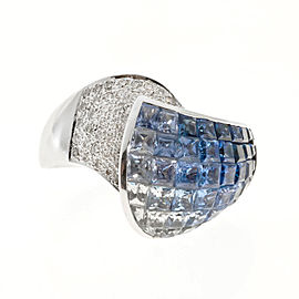 Vintage 14k White Gold 6.30ctw Blue - White Sapphire and 0.35ctw Diamond Ring Size 9.25