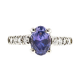 Vintage Platinum with 1.60ct Blue Violet Natural Sapphire & Diamond Accent Ring Size 6.25