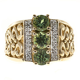 Vintage 14K Yellow Gold with 1.30ct Green Tourmaline & 0.10ct Diamond Ring Size 8