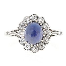 Vintage Platinum High Dome Natural Cornflower Cabochon Sapphire & Diamond Ring Size 7.75