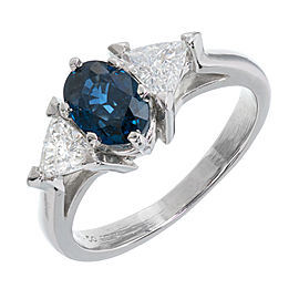950 Platinum 1.10ct Sapphire & 0.50ct Diamond Ring Size 6