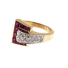 18K Yellow Gold & Platinum 0.75ct Ruby & 0.50ct Diamond Ring Size 5.75