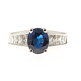 Vintage Kobi Platinum 2.25ct Oval Blue Sapphire and 1.26ctw Diamond Ring Size 6.25