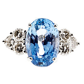 Platinum 8.95ct Periwinkle Blue Sapphire with Diamond Ring Size 8