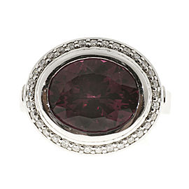 Platinum Garnet & 0.34ct Diamond Ring Size 6.5