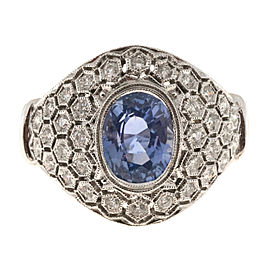 Vintage 18K White Gold with 2.18ct Periwinkle Blue Sapphire & Diamond Ring Size 7