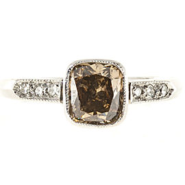 Art Deco Platinum with Fancy Yellow Brown Natural Diamond Ring Size 8