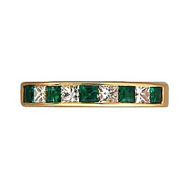 18k Yellow Gold Vintage .50ct Emerald .44ct Princess Diamond Ring Size 6.5