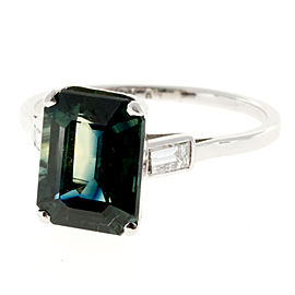 Vintage Platinum With 5.37ct Blue Green Sapphire and Diamonds Ring Size 9