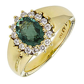 14K Yellow Gold with Emerald & Diamond Ring Size 4.75