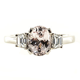 Platinum with Natural Peach Orange 2.22ct Sapphire and Diamond Ring Size 6.75