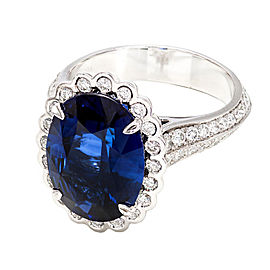 Platinum 6.48ct Blue Oval Sapphire and Diamond Ring Size 6