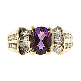 Vintage 14K Yellow Gold 1.25ct Oval Amethyst & 0.49ct Baguette Round Diamond Ring Size 7.25