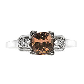 Vintage Art Deco Platinum with 1.01ct Brown Orange Sapphire & Diamond Ring Size 6.75