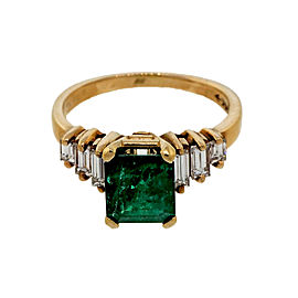 14k Yellow Gold 1.50ct Emerald Baguette Diamond Ring Size 5.25