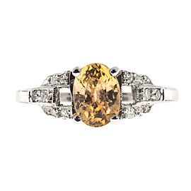 Vintage Platinum with 1.21ct Light Yellow Orange & Sapphire Deco Diamond Ring Size 5.75