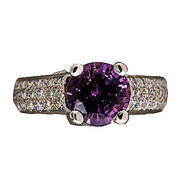 Peter Suchy Platinum with 3.18ct Purple Sapphire and 0.45ct Ideal Micro Pave Diamond Ring Size 5.75