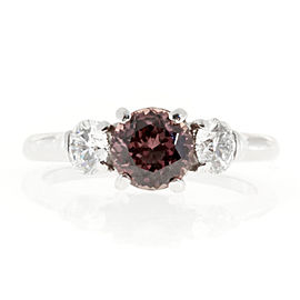 Vintage Platinum 1.13ct Natural No Heat Raspberry Brown Pink Sapphire and .48ct Diamond Ring Size 5
