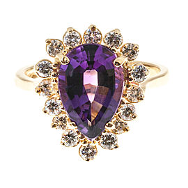 Vintage 14k Yellow Gold 2.65ct Purple Amethyst and .80ct Diamond Ring Size 5.75