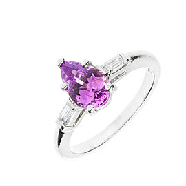Vintage Platinum with 1.70ct Pear Purple Sapphire and Natural Baguette Diamond Ring Size 5.75