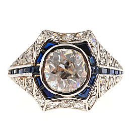 18K Yellow Gold & Platinum 1.95ct Diamond & Sapphire Ring Size 6.25