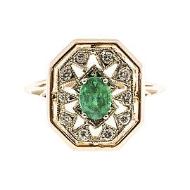 Vintage 14K Pink & White Gold 0.50ct Emerald & 0.20ct Diamond Ring Size 8
