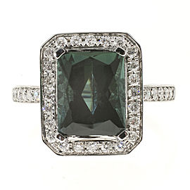 Vintage 18k White Gold 3.65ct Green Tourmaline and .35ct Full Cut Diamond Ring Size 7.25