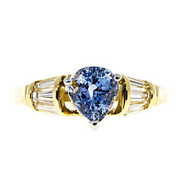 Vintage 18K Yellow Gold and Platinum with 2.27ct Sapphire & Baguette Diamond Ring Size 9