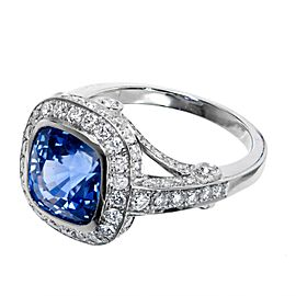 Vintage Platinum 3.91ct Natural Blue Cushion Sapphire and 1.10ctw Diamond Ring Size 6