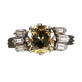 Platinum Vintage1.79ct Yellow Sapphire Diamond Ring Size 6